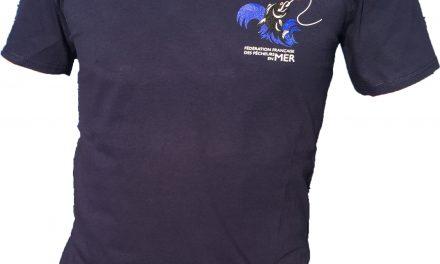 T-Shirt FFPM bleu col en V